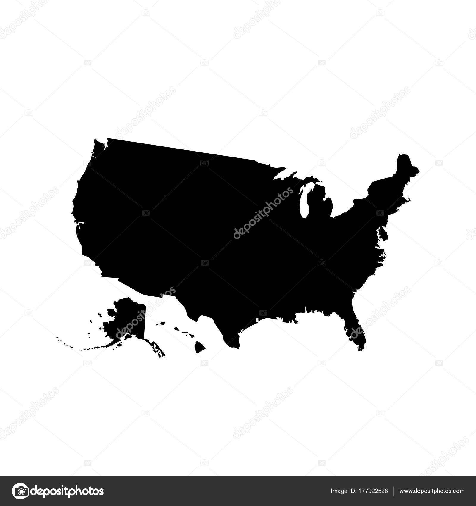 vector map usa isolated vector illustration black white background eps stock vector