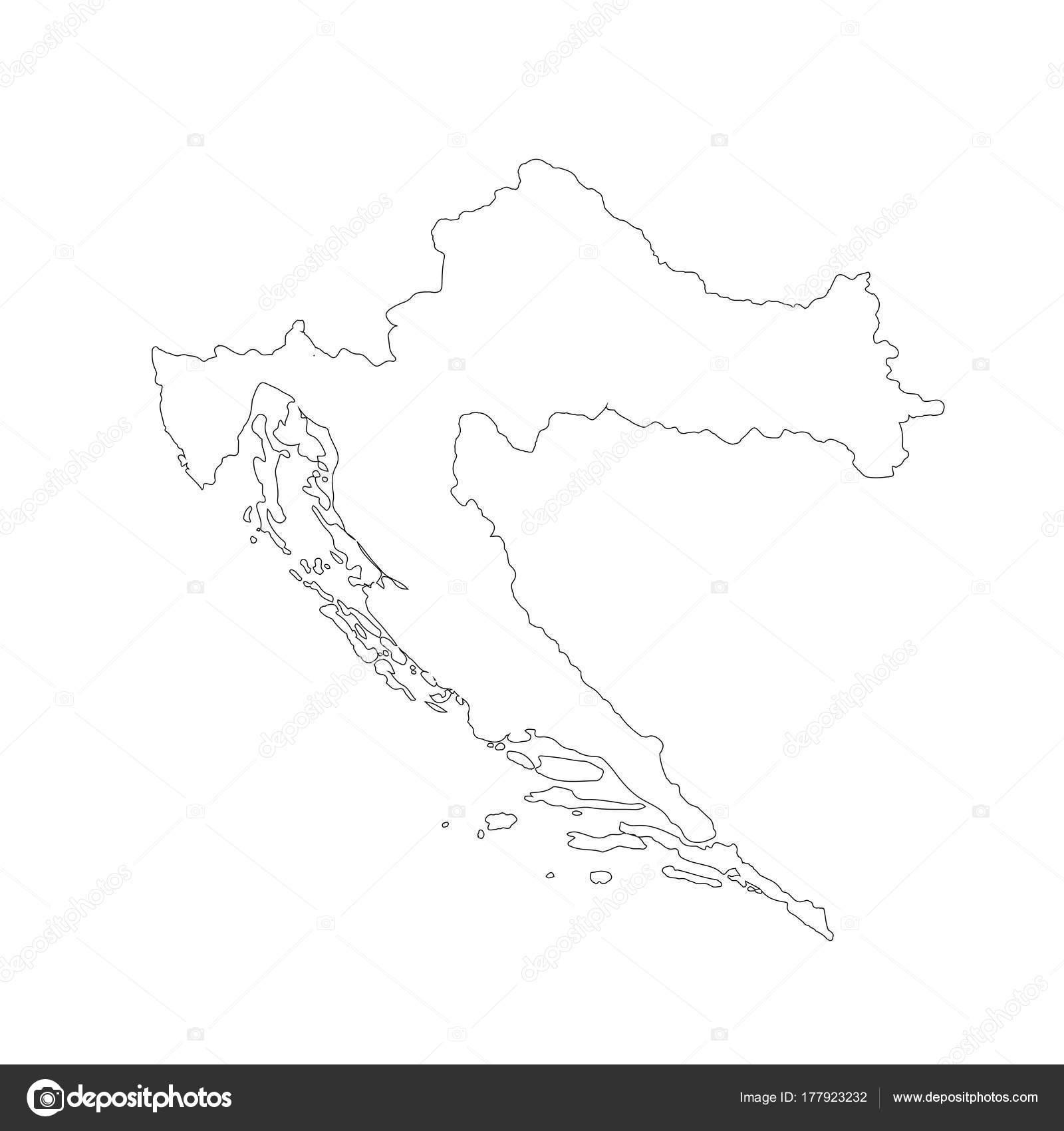 Vector Map Croatia Isolated Vector Illustration Black White ...