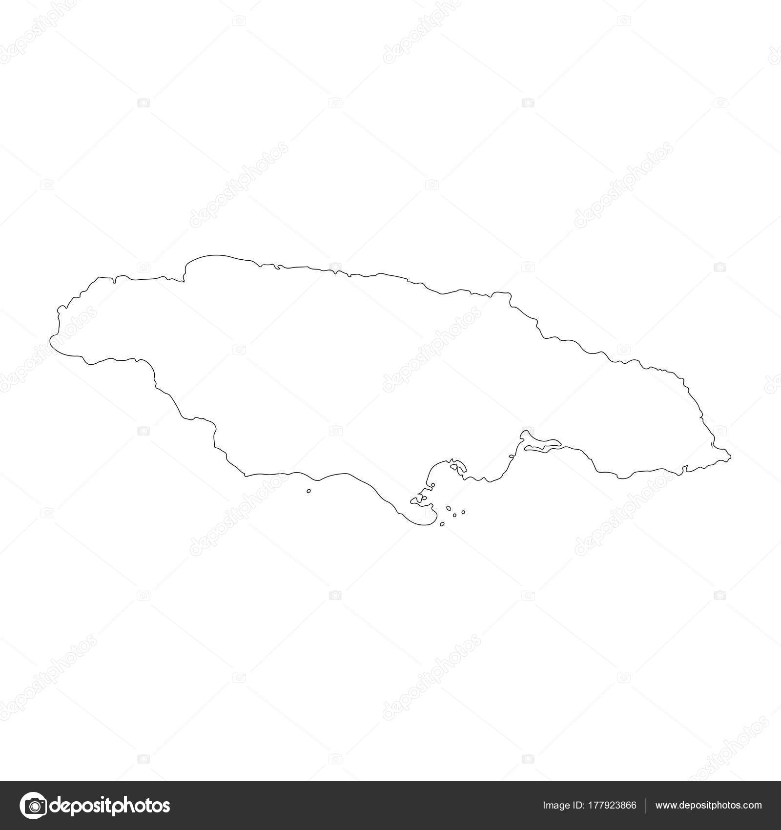 Vector map jamaica isolated vector illustration black white background eps stock vector