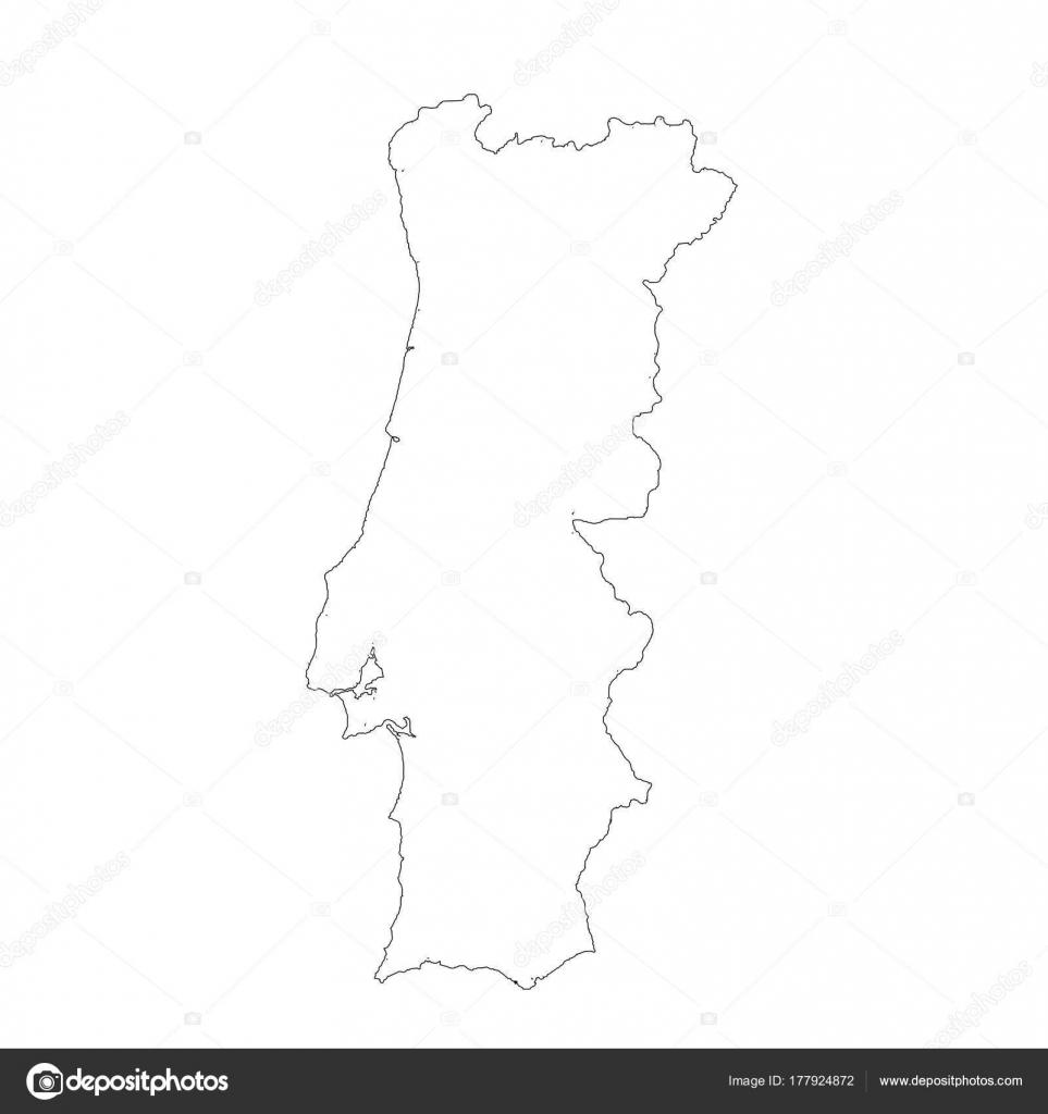 mapa de portugal a preto e branco Mapa Vetor Portugal Vetor Ilustração Isolado Preto Sobre Fundo  mapa de portugal a preto e branco