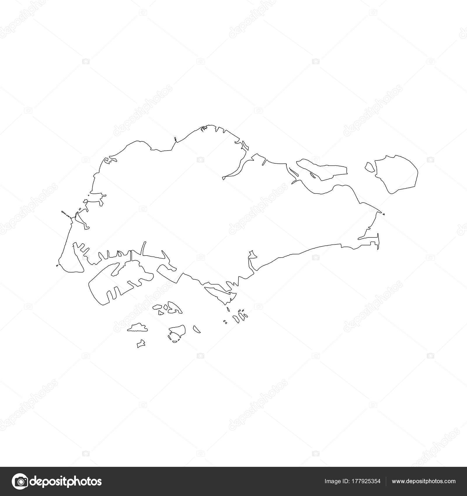 Vector Map Singapore Isolated Vector Illustration Black White ...