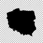 Vector map Poland. Isolated vector Illustration. Black on White background. EPS 10 Illustration.