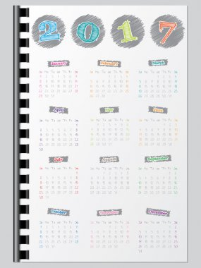 Colorful calendar with scribbled color elements for year 2017