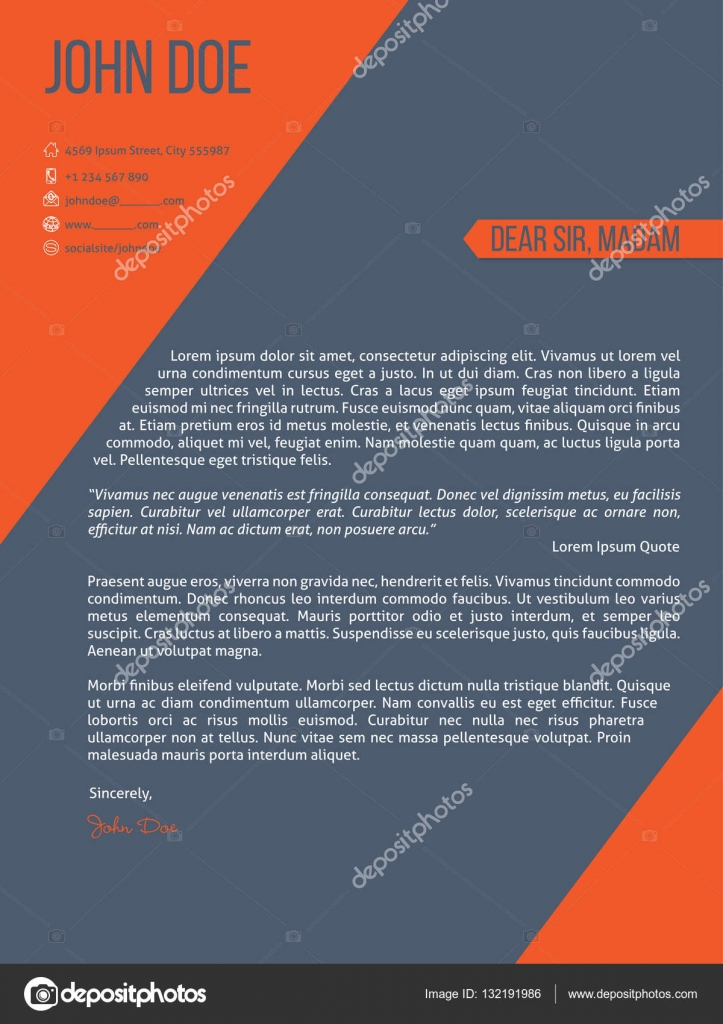 Carta de reanudar la plantilla cv con rayas naranja — Archivo ...