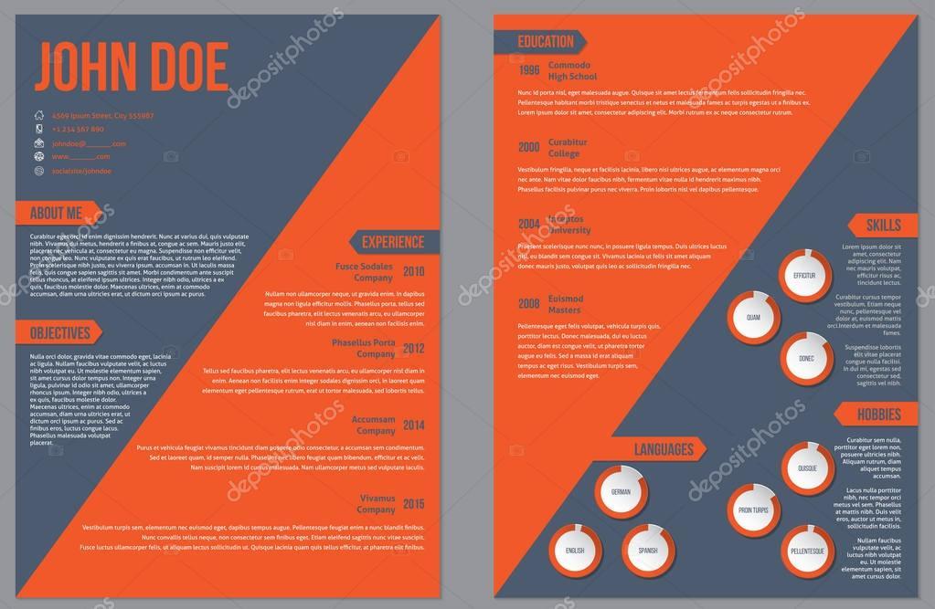 mod u00e8le de cv curriculum vitae de deux c u00f4t u00e9s avec large bande orange  u2014 image vectorielle vipervxw