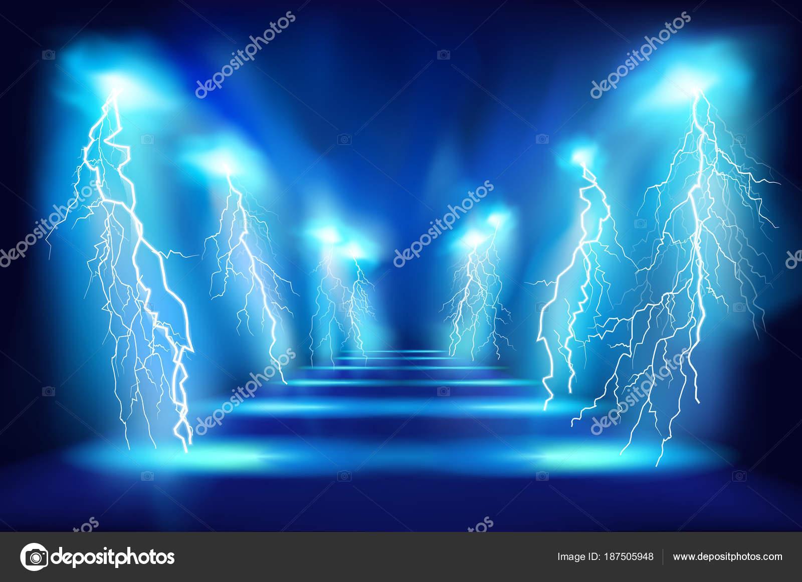 光のパフォーマンス。ステージで放電。ベクトル図. \u2014 ストック