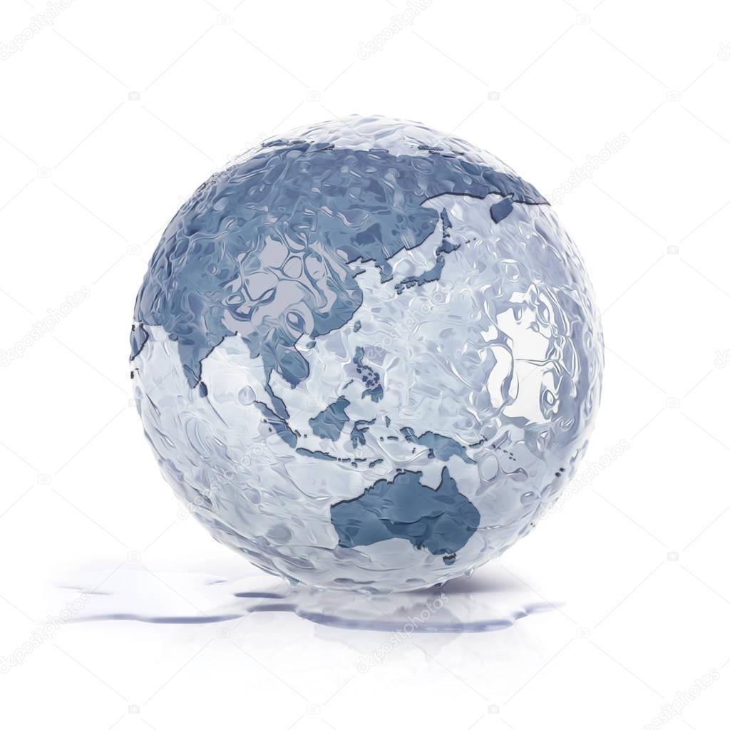 ice globe 3d illustration asia and australia map stock photo