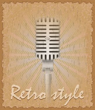 Retro style poster old microphone vector illustration