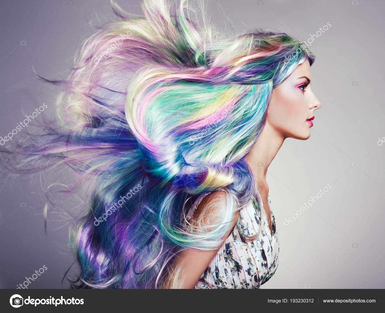 Colorful Hairstyles | Beauty Fashion Model Girl With Colorful Dyed Hair Stock Photo