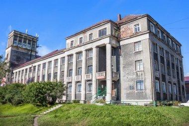 Former hotel, built in 1935 in Medvezhygorsk. Karelia. Russia