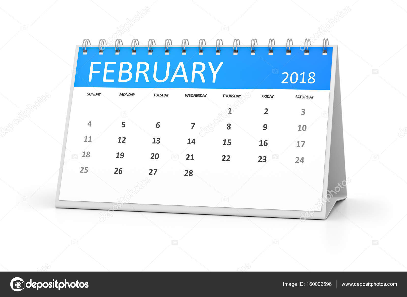 3d rendering of a table calendar for your events 2018 february photo by magann