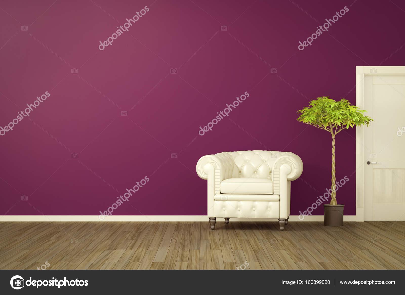 chambre mauve avec un fauteuil blanc photo