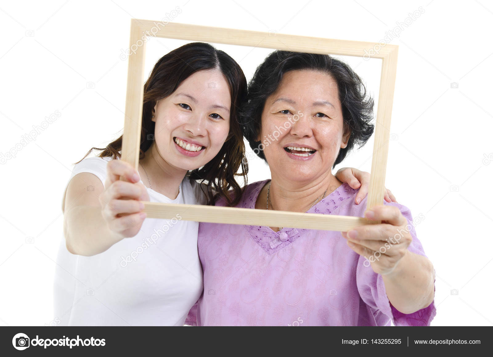 Mother and daughter photo frame — Stock Photo © szefei #143255295