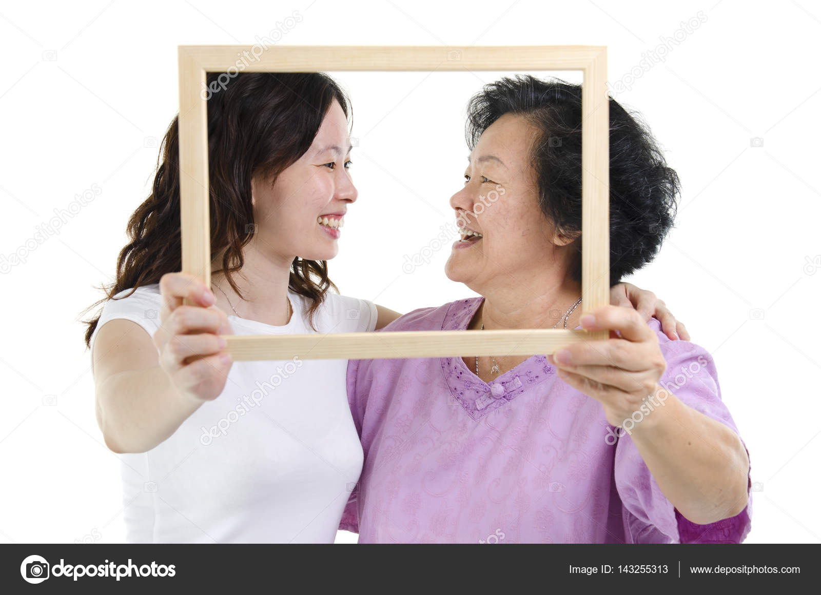 Marco de fotos de asiática madre e hija — Fotos de Stock © szefei ...