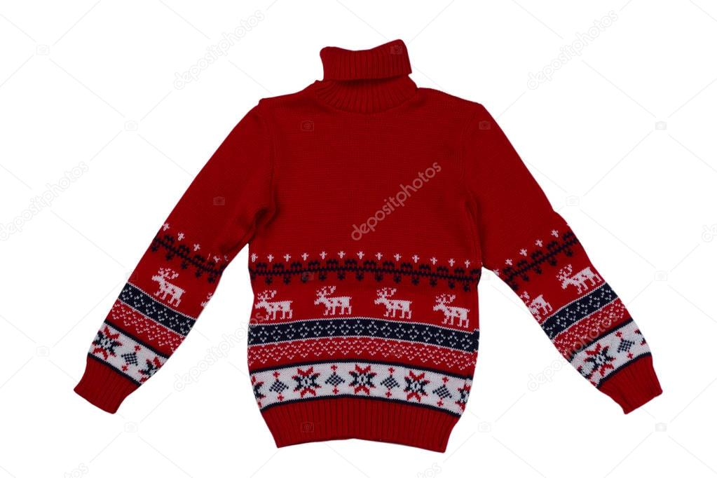 0e350babdc0b Κόκκινο πλεκτό πουλόβερ φόντο με παραδοσιακό σχεδιασμό — Φωτογραφία ...