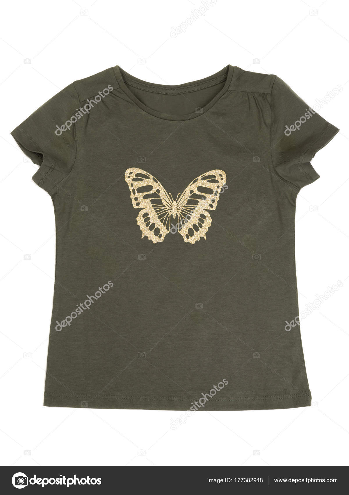 Khaki tričko s motýl vzorem. Izolovat na bílém pozadí — Fotografie od ... 18a708ee6f