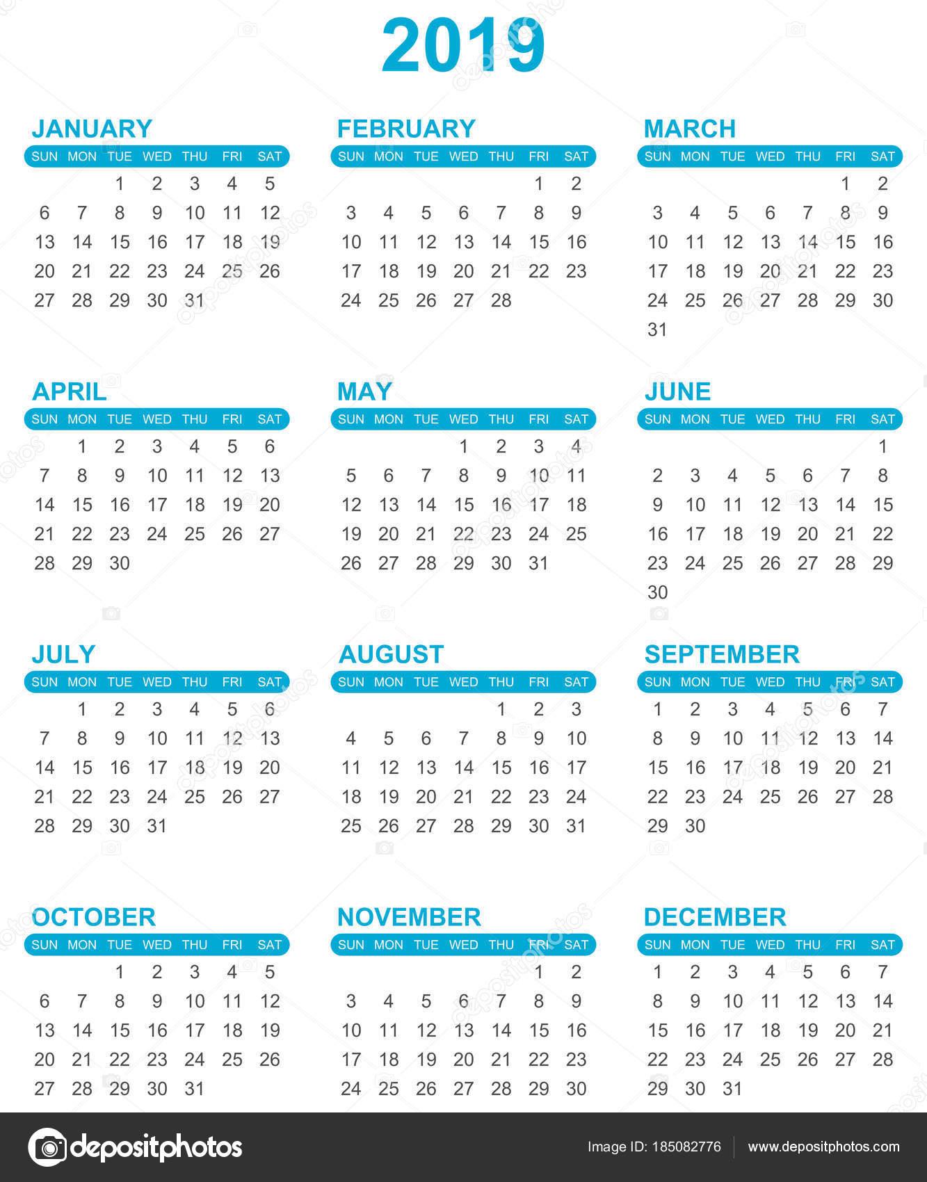 Year Calendar In Javascript : Simple editable vector calendar for year sundays