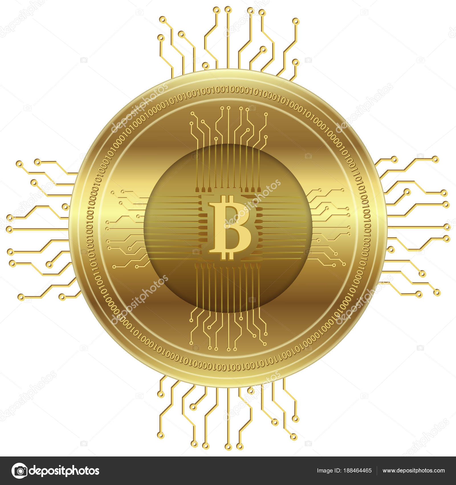 Crypto Currency Symbol Golden Bitcoin Icon Vector Illustration