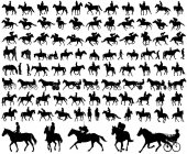 people riding horses silhouettes collection
