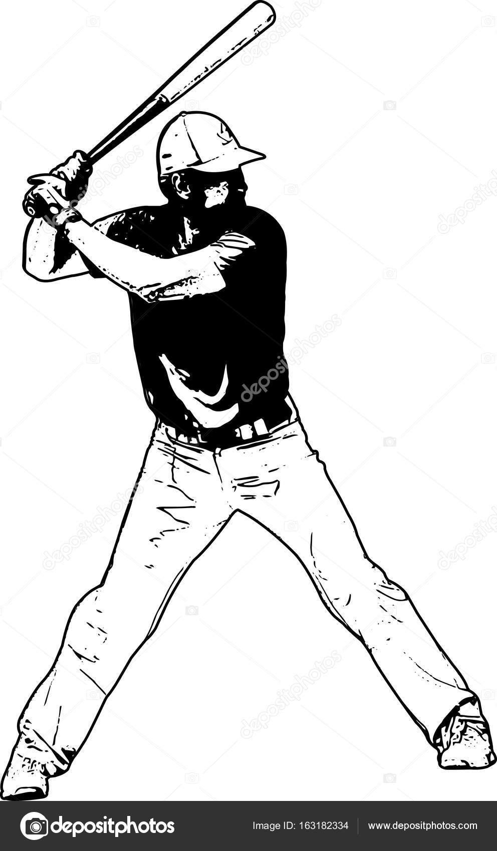 jugador de béisbol, Ilustración dibujo — Archivo Imágenes ...