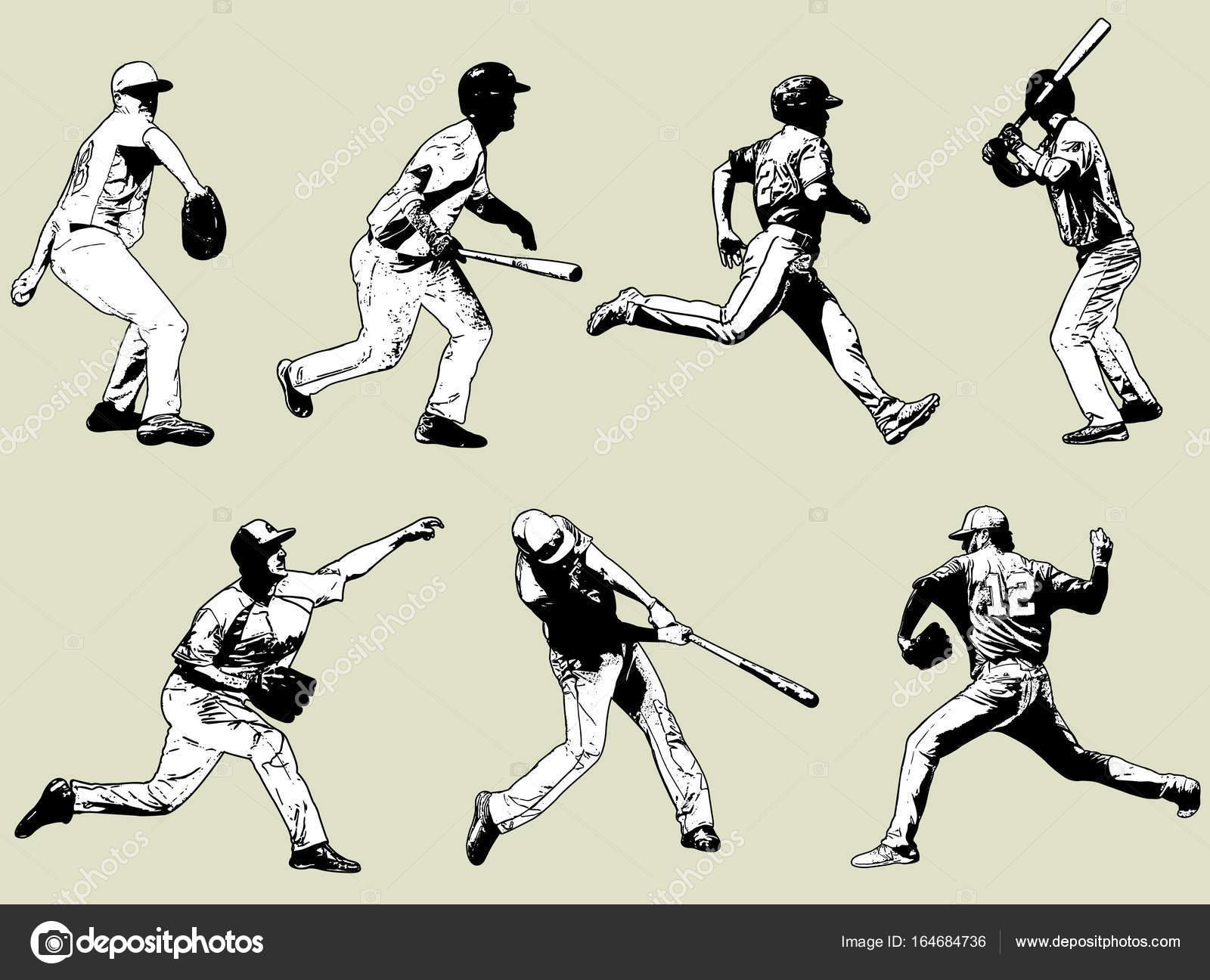 Baseball-Spieler-Set - Skizze Abbildung — Stockvektor © bokica ...