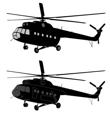 silhouette of russian MI-8 helicopter