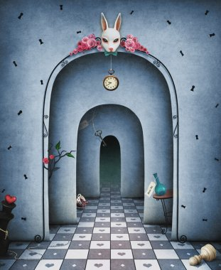 Background for illustration or cover with arches in a large hall with a rabbit's head and chess and other objects stock vector