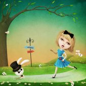 Photo Fantasy girl and rabbit