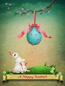 Fotografie Osterei und weiße Kaninchen