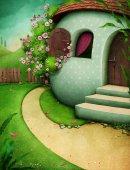 Blahopřání s venkovský dům vejce