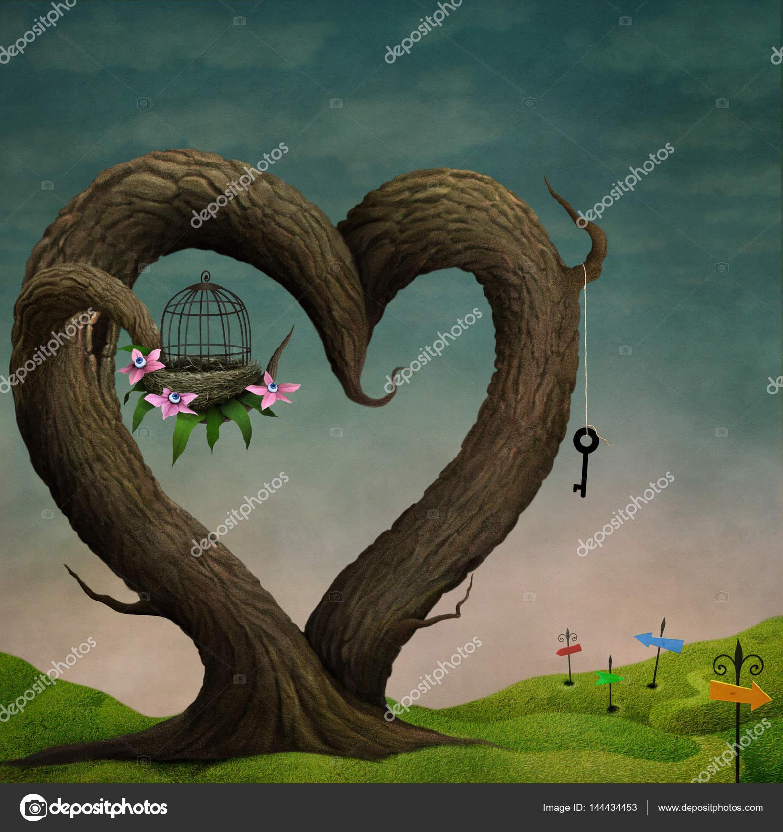 árboles Extrañamente Mágico En Forma De Corazón Fotos De Stock