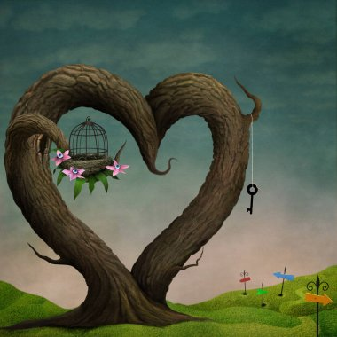 Bizarrely magical tree in shape of heart