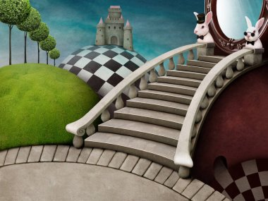 Fabulous background with staircase and mirror for poster adventure Wonderland stock vector