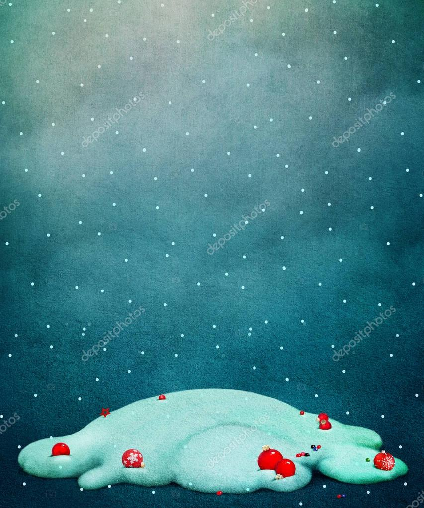 holiday background with snow hill and toys
