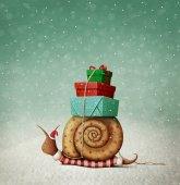 Weihnachtskarte mit Schnecke und Geschenken