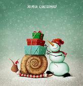Weihnachtskarte mit Schnecke, Schneemann und Geschenken