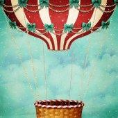 Üdvözlőlap-ünnep a karácsony vagy újév a hőlégballon