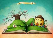 Fotografia Libro magico di cartolina dauguri di vacanza con molla verde paesaggio e la casa delluovo di Pasqua