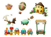 Photo Holiday Set of festive Easter items for greeting card or poster.