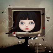 Fényképek A mese fogalmi illusztráció karakter kislány és a Tv