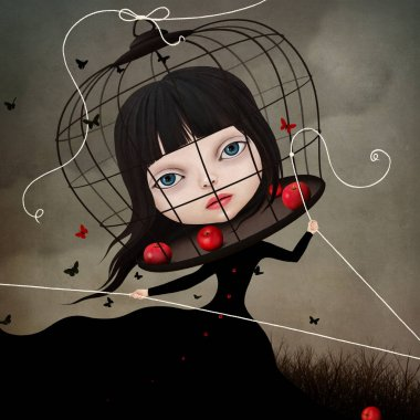 Conceptual illustration with a fairy tale character little Snow white