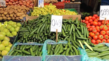 Long Cucumbers at Market