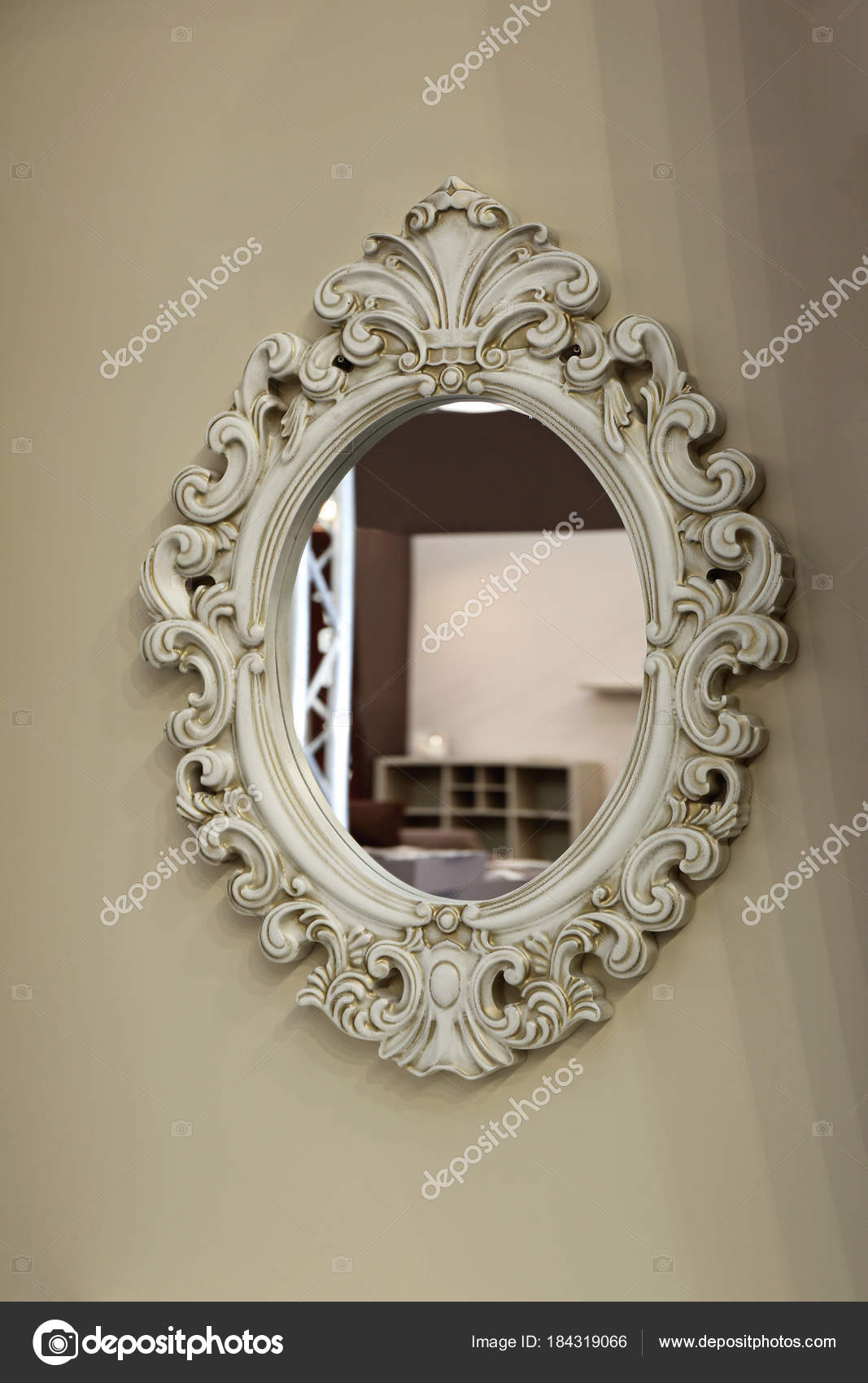 oval mirror frame. Vintage Oval Mirror \u2014 Stock Photo Frame