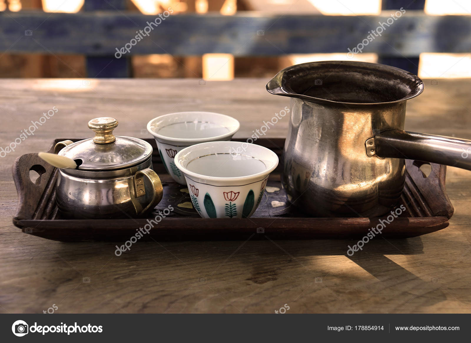 A Tray With Two Lebanese Traditional Empty Coffee Cups Turkish Kettle Photo By ElianeHaykal