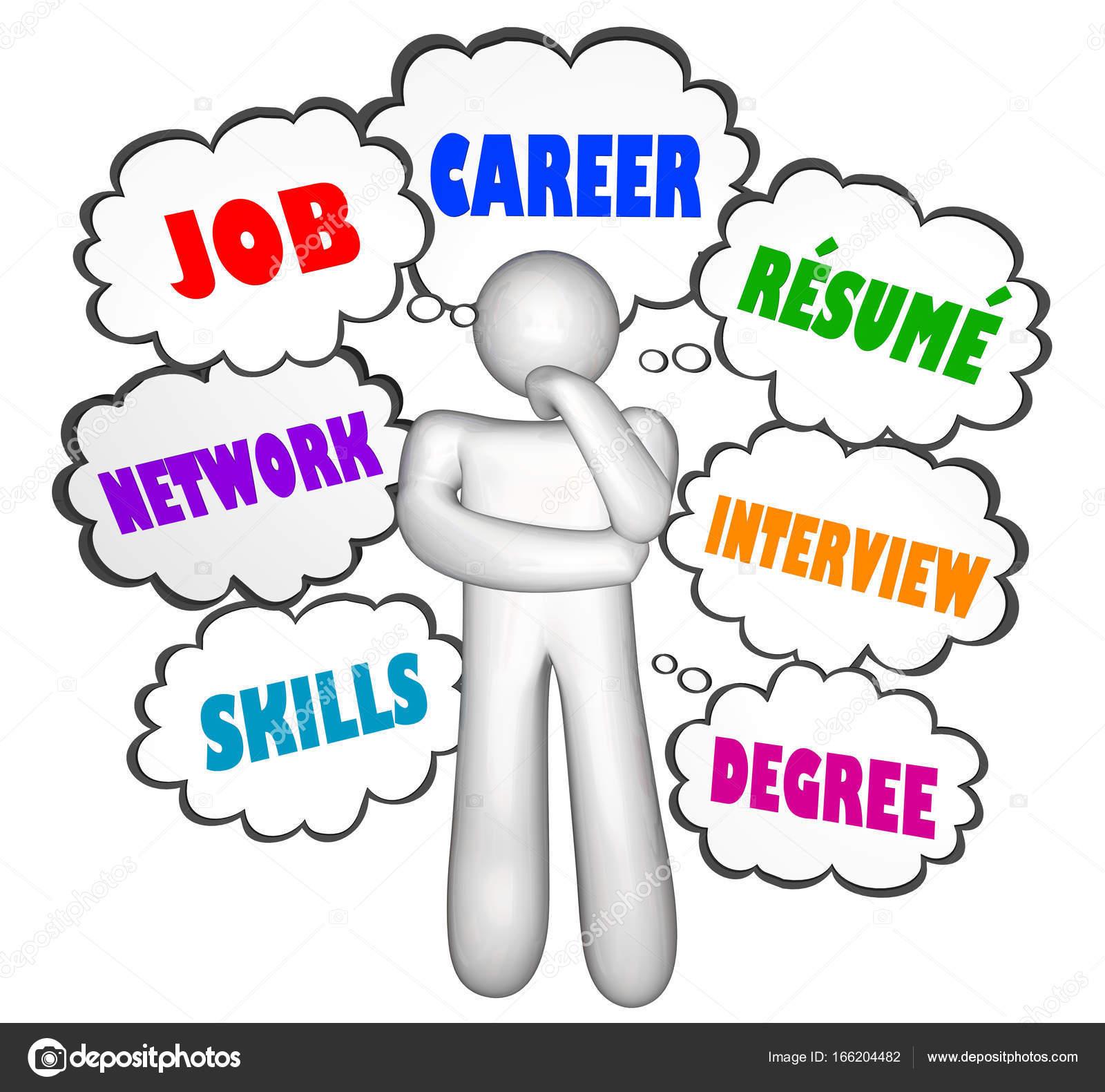 Trabajo carrera pensador pensamiento nubes — Foto de stock ...