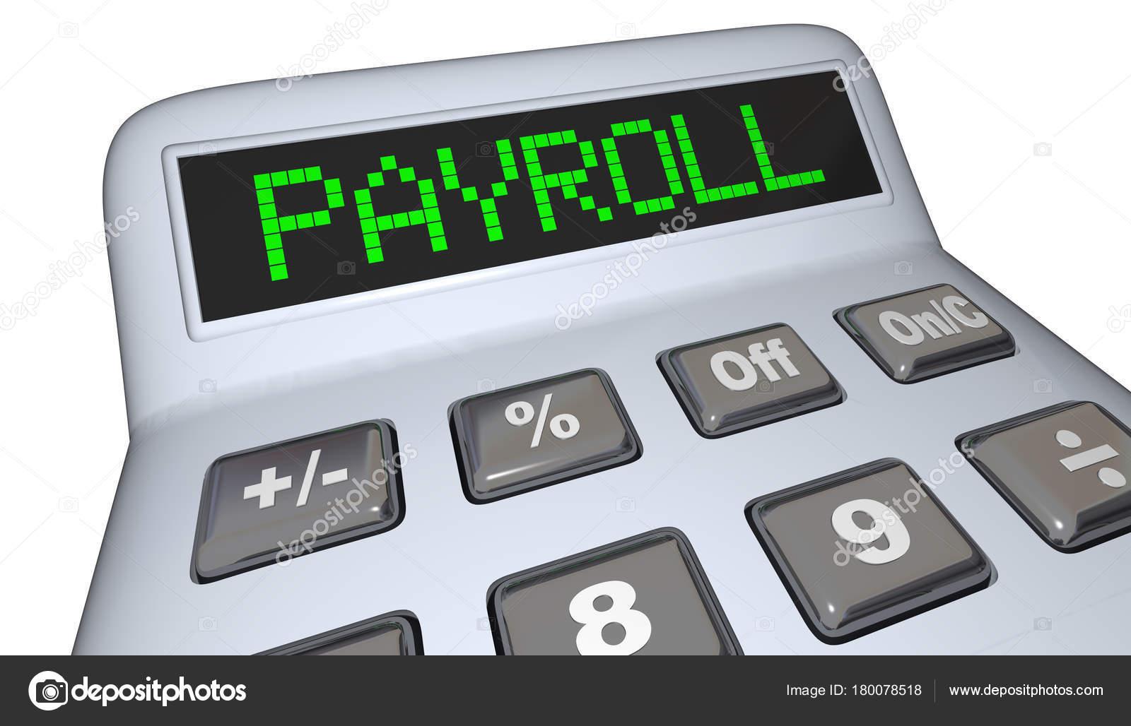 payroll calculator staff employees salary illustration stock photo
