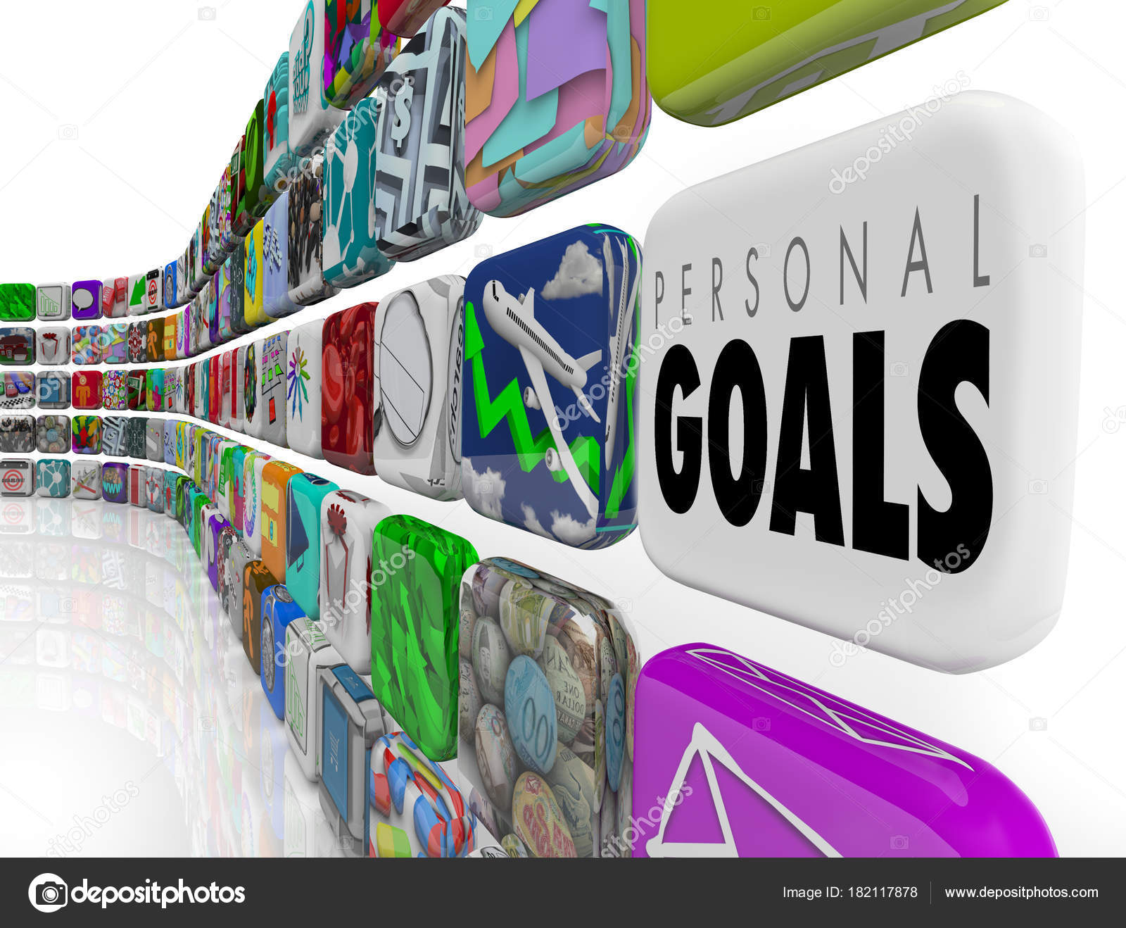 personal goals tracking success results apps illustration stock