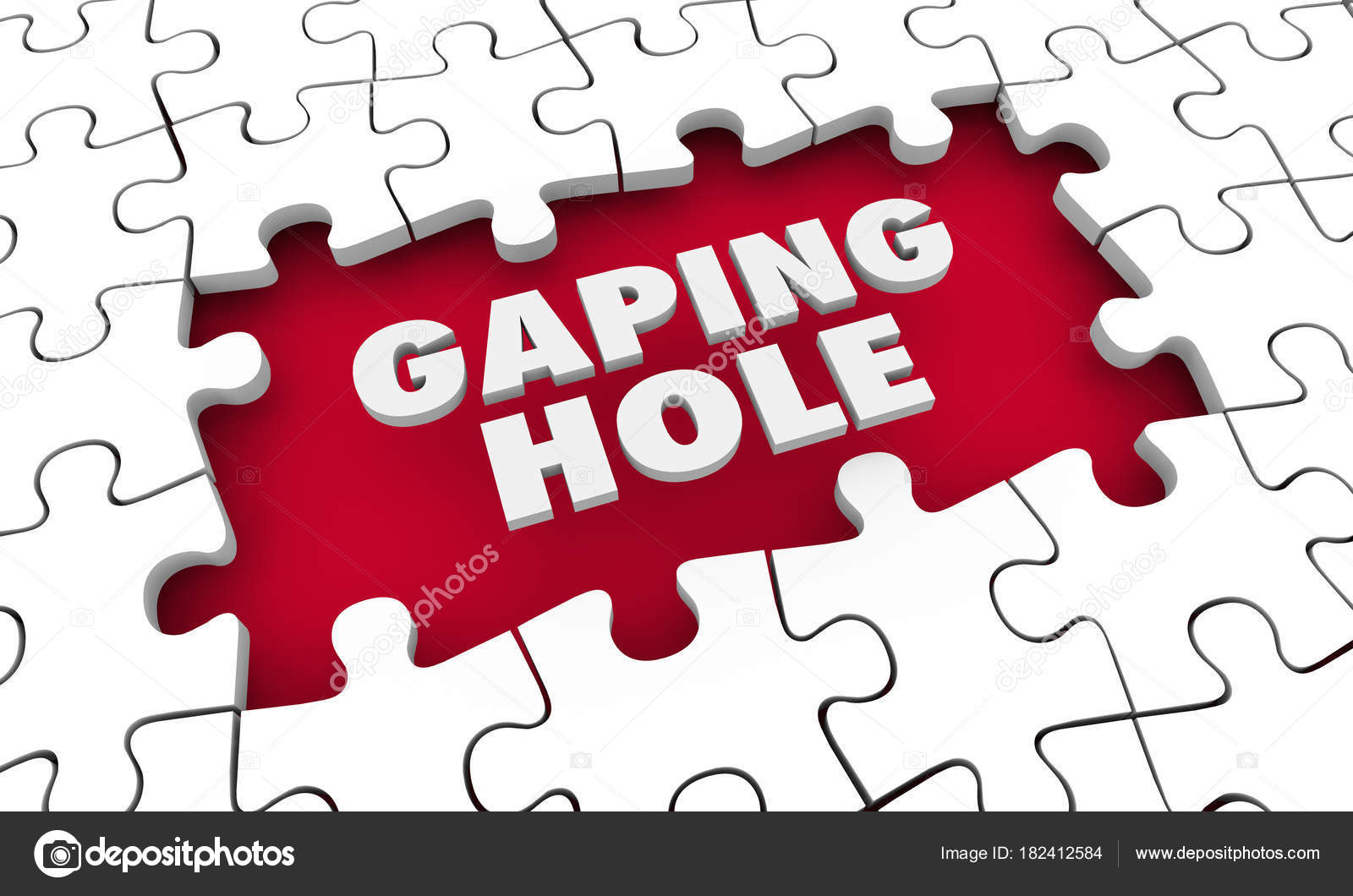 Enorme agujero rompecabezas pieza espacio palabras — Foto de stock ...