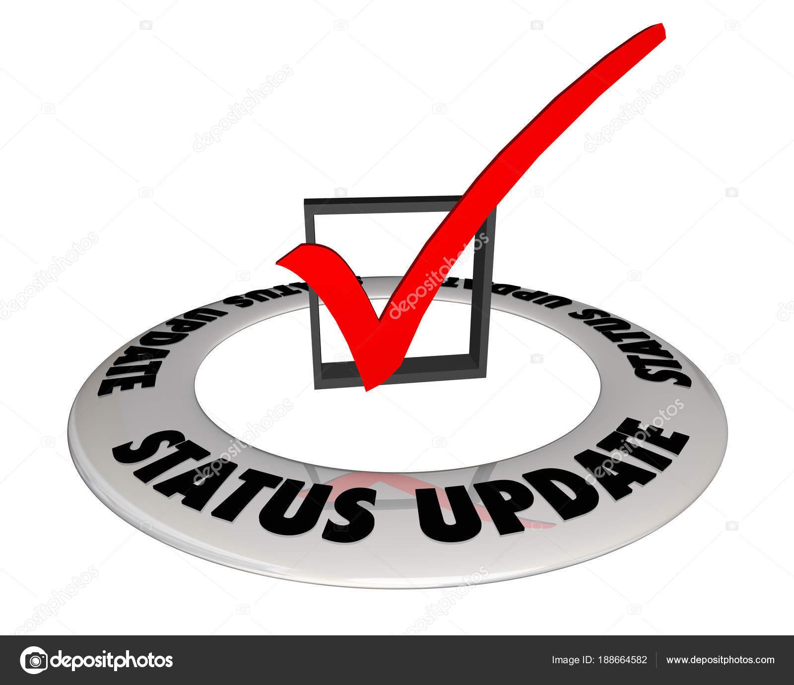informações caixa status update check mark ilustração stock photo