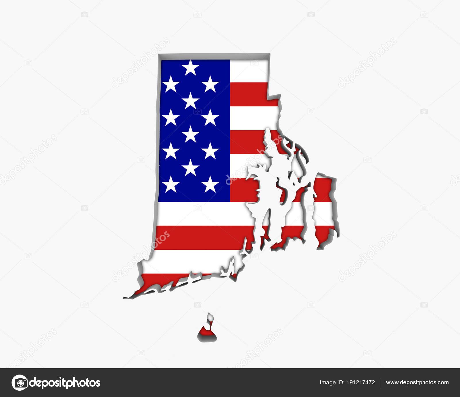 Rhode Island Usa Flag Stars Stripes Map Illustration — Stock Photo ...